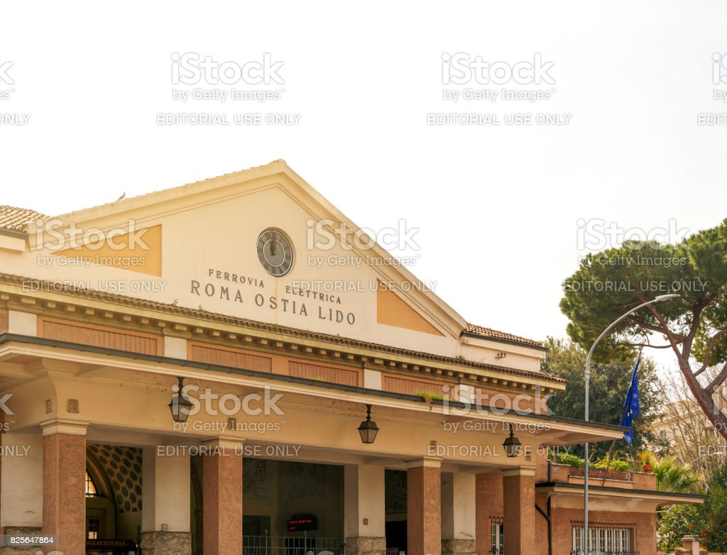 Roma Ostia Lido station in Rome stock photo