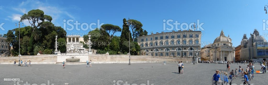 Roma - Panoramica di Piazza del Popolo stock photo