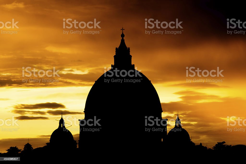 Roma, Sunset over St. Peter's Basilica royalty-free stock photo