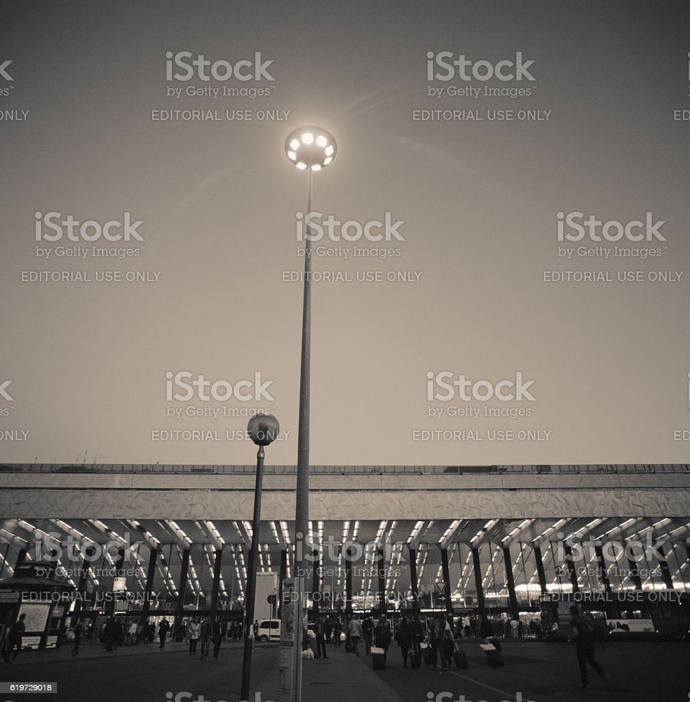 Roma Termini railway station in the evening, outside stock photo