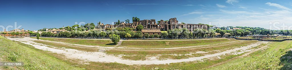 Roma, view of Circus Maximus and ruins stock photo