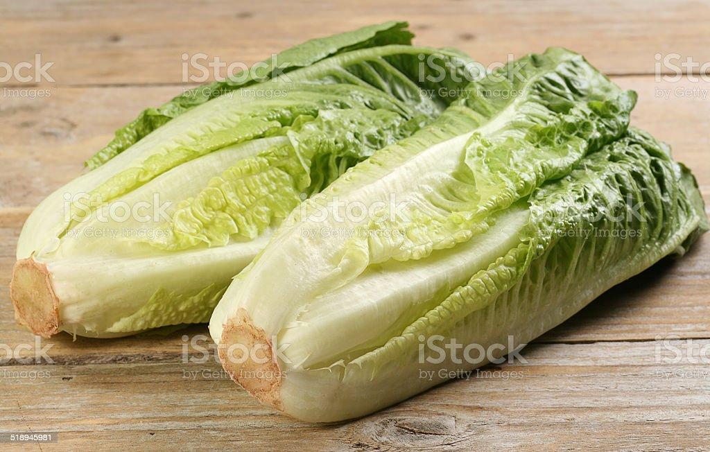 romaine lettuce hearts stock photo
