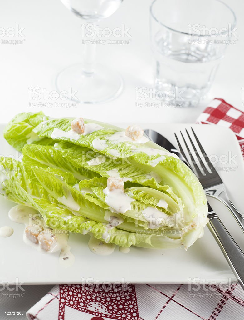 Romaine lettuce with dressing royalty-free stock photo