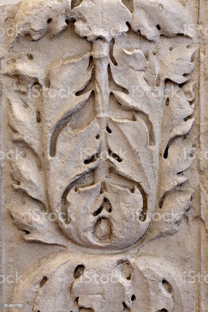 Roman acanthus stone carving in Verona stock photo