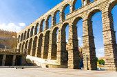 roman acqueduct in Segovia near Madrid, Spain
