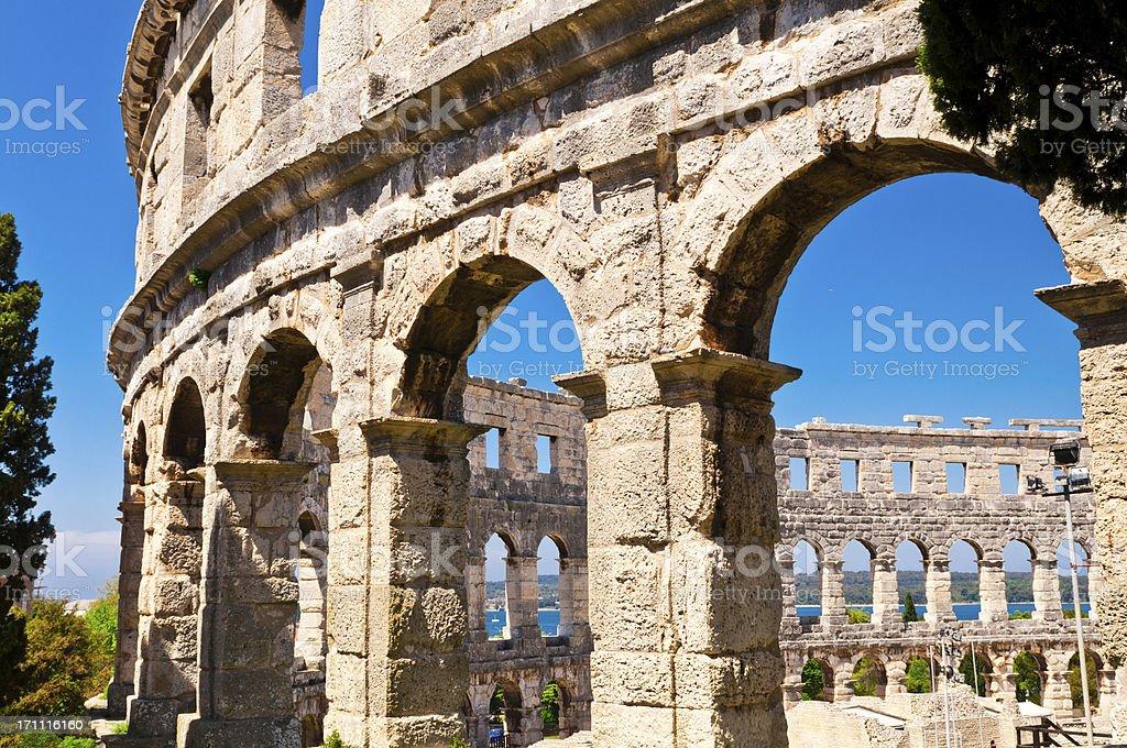 Roman Amphiteater, Arena, Colosseum in Pula, Istria, Croatia stock photo