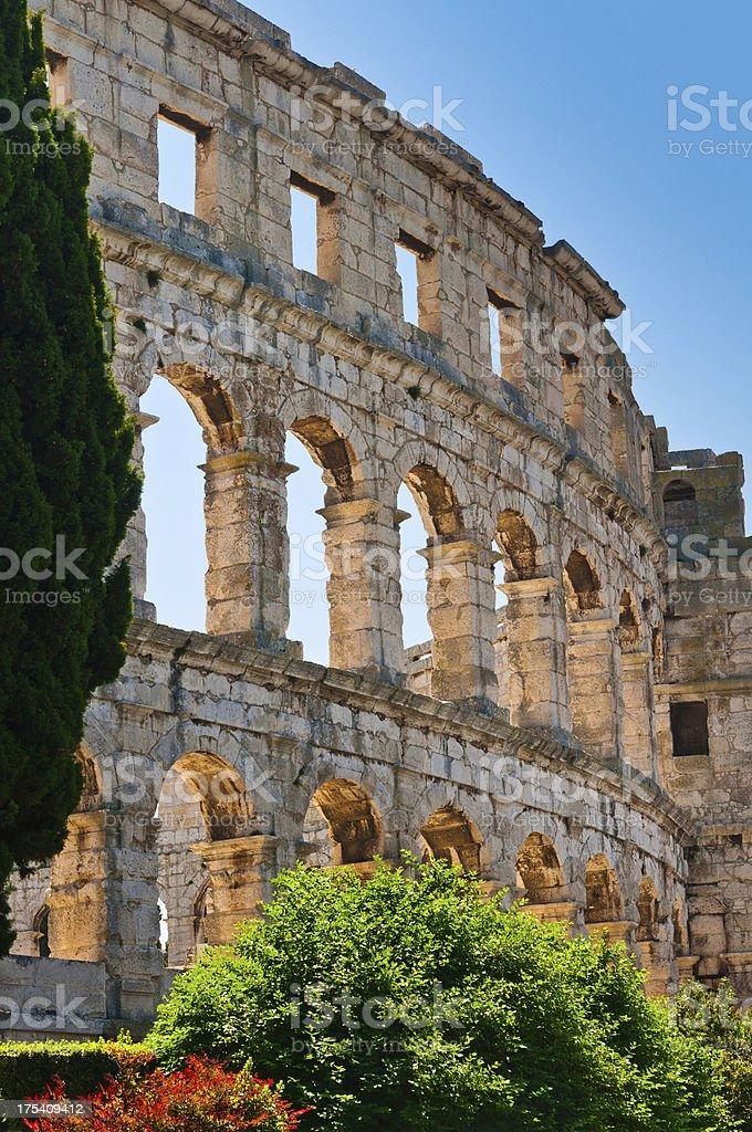 Roman Amphiteater in Pula, Croatia stock photo