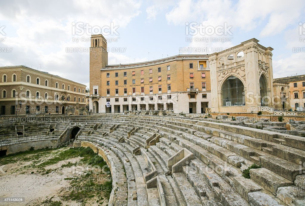 Roman Amphiteatre (2nd Century) in Lecce, Apulia, Italy stock photo