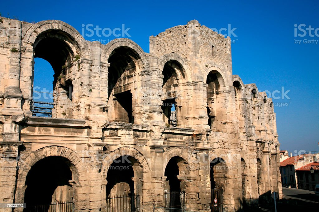 Roman amphitheater / Arena of Arles, Bouche-du-Rhône Dpt, France. stock photo
