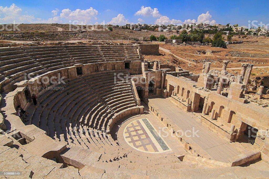 Roman amphitheater in Jarash stock photo
