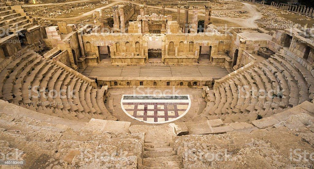 Roman amphitheater in Jerash stock photo