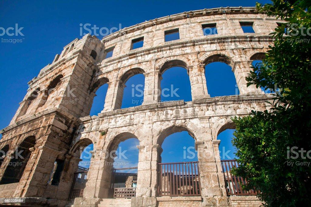 Roman Amphitheater in Pola stock photo