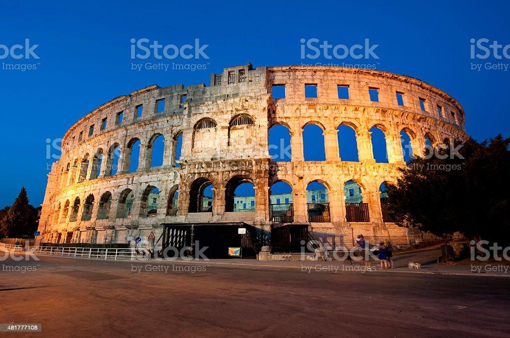 Roman amphitheater in Pula stock photo