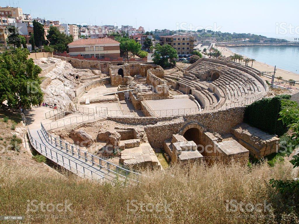 Roman amphitheater in Tarragona stock photo