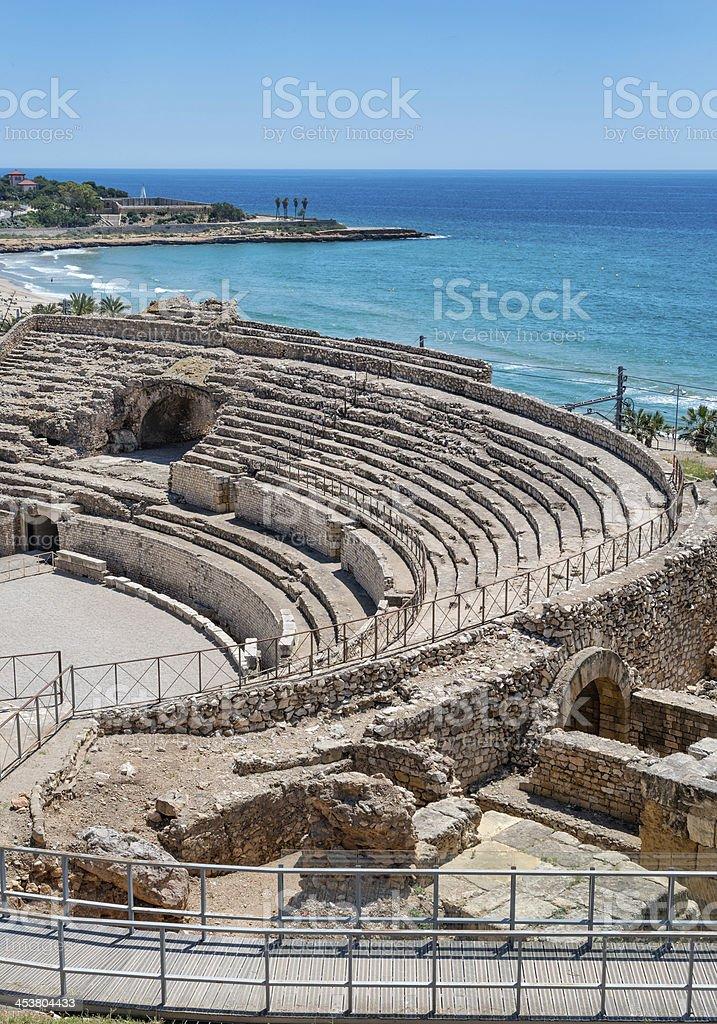Roman amphitheater in Tarragona , Spain stock photo