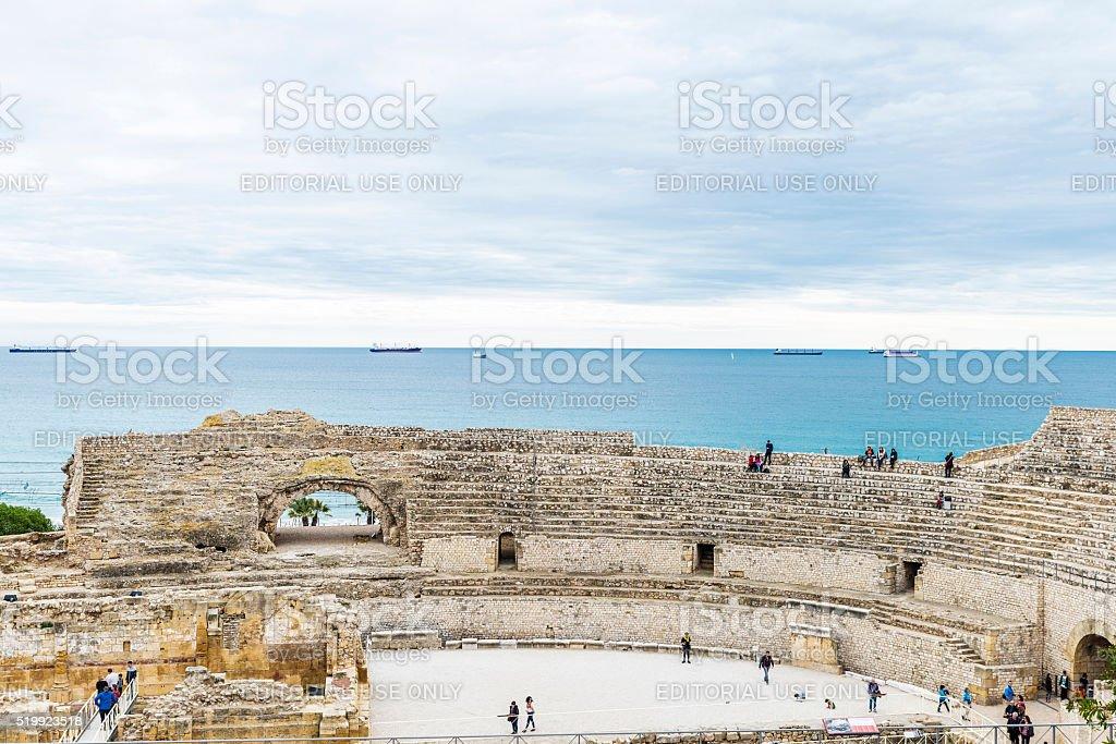 Roman amphitheater in Tarragona, Spain stock photo