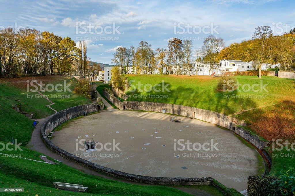 Roman Amphitheater in Trier in autumn stock photo