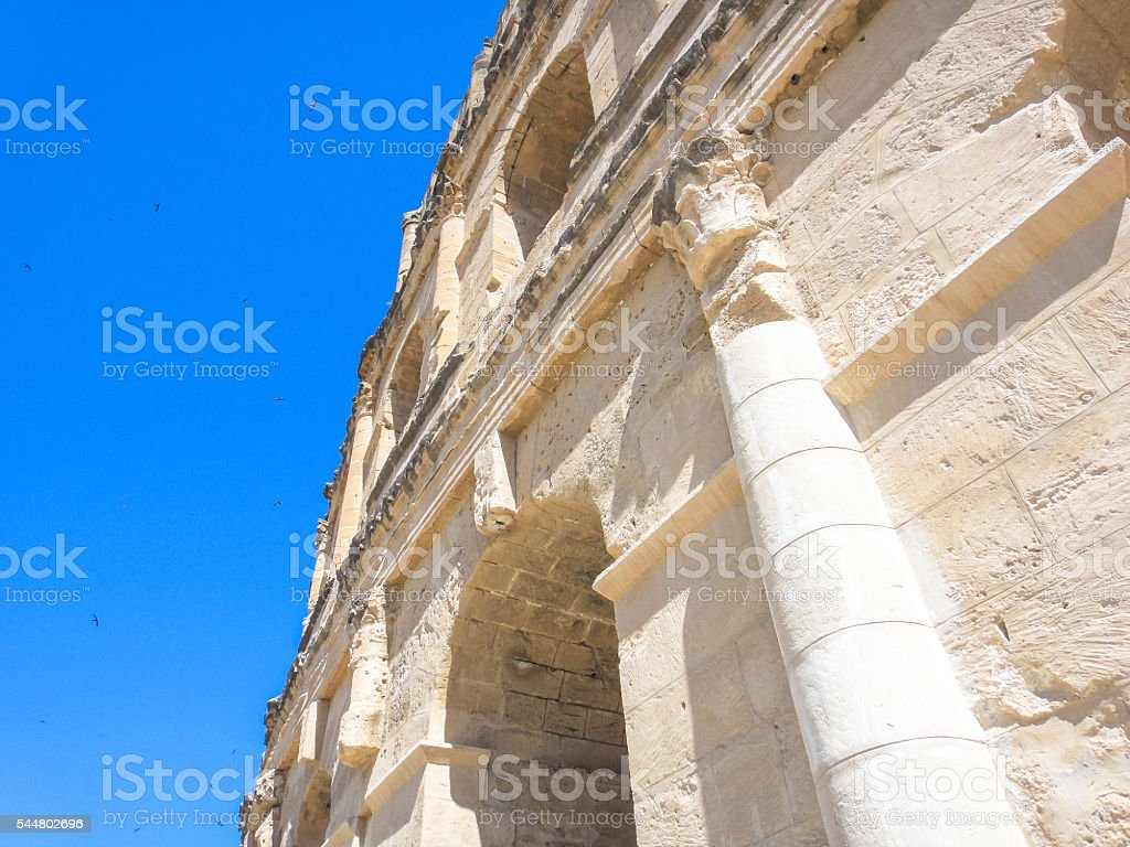 Roman amphitheater of Thysdrus in El Djem town. Tunisia stock photo
