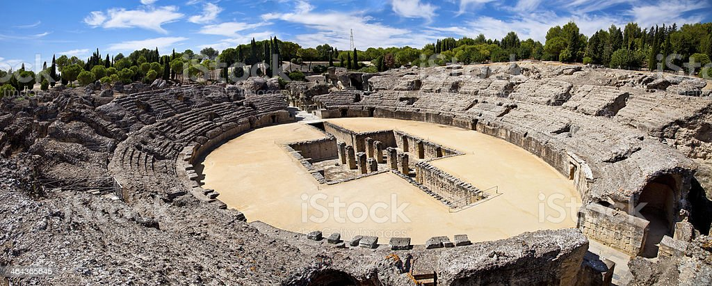 Roman Amphitheater ruin Italica. Seville, Spain royalty-free stock photo