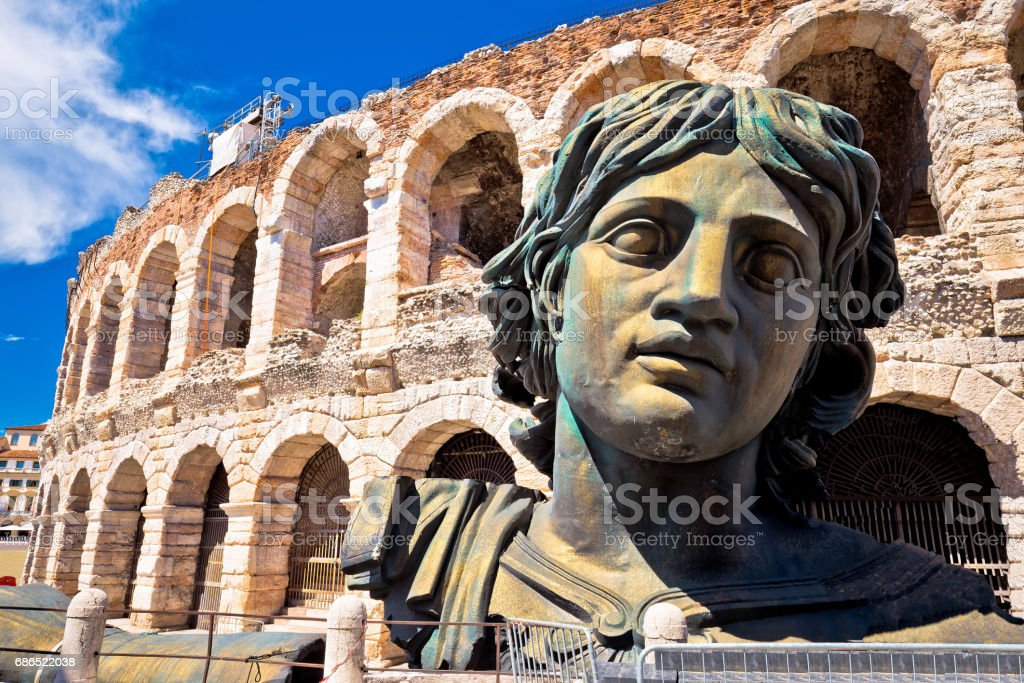 Roman amphitheatre Arena di Verona view, landmark in Veneto region of Italy stock photo