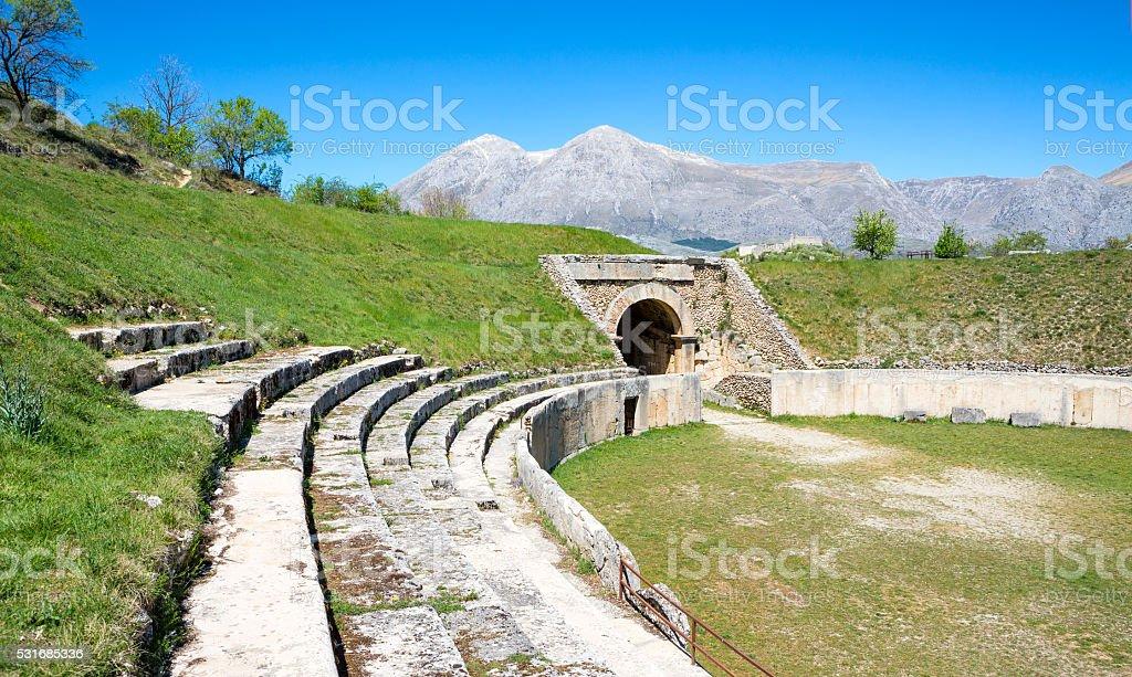 Roman Amphitheatre in Alba Fucens, Avezzano Abruzzi, Italy stock photo