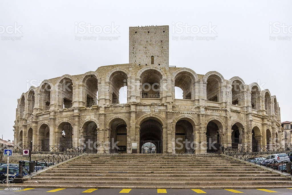 Roman amphitheatre in Arles - UNESCO world heritage, France stock photo