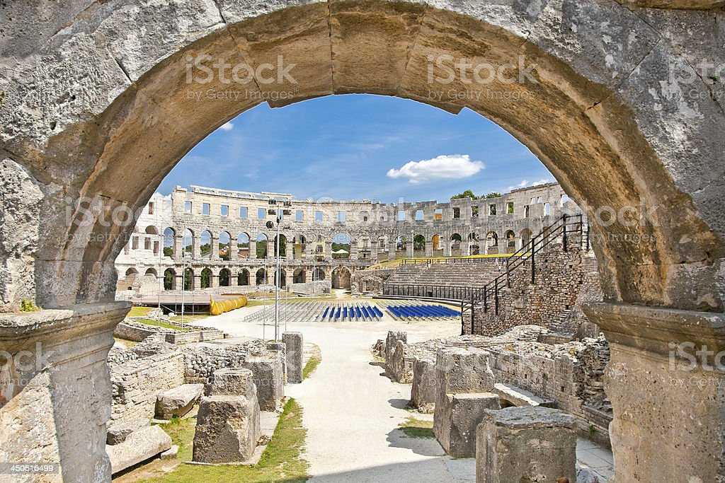 Roman amphitheatre (Arena) in Pula. Croatia. stock photo