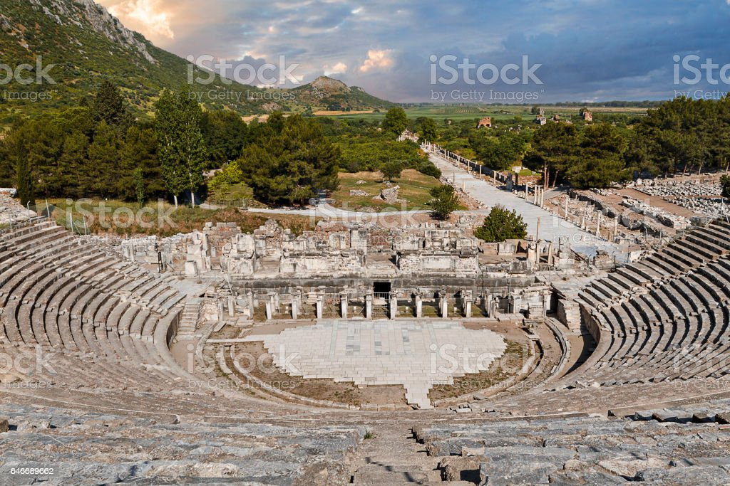 Roman amphitheatre in the ruins of the Roman city of Ephesus, Turkey stock photo