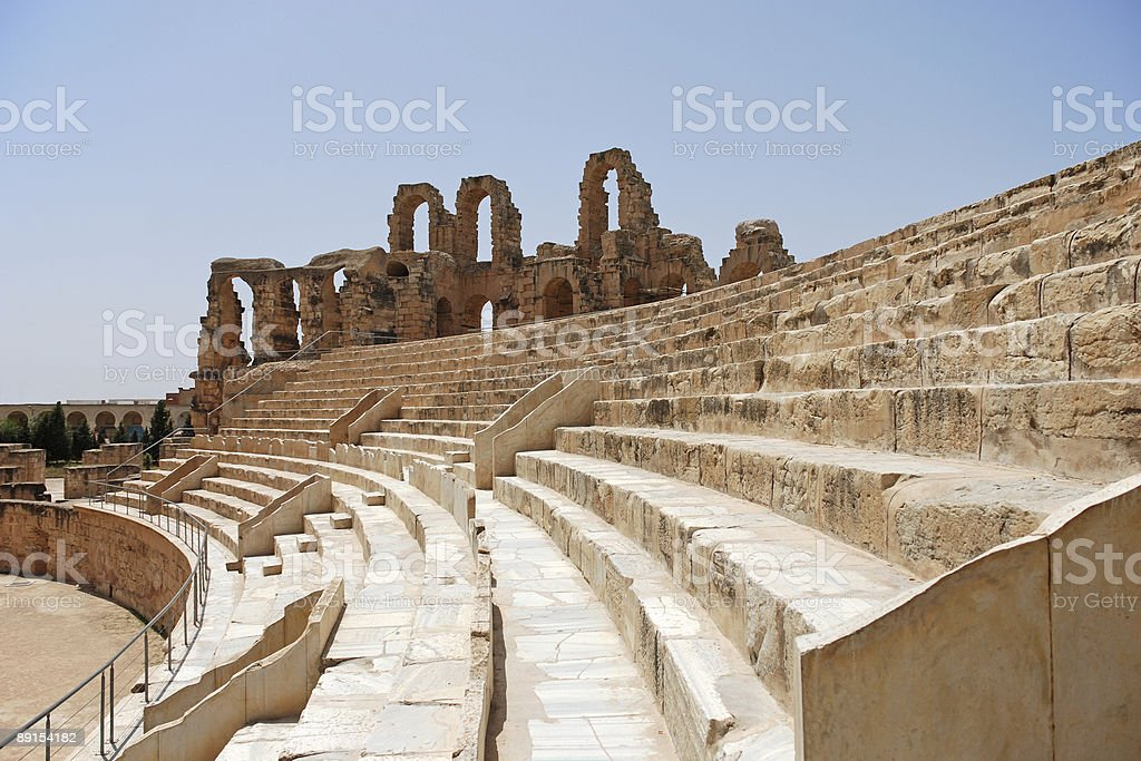 Roman Amphitheatre in Tunisia royalty-free stock photo