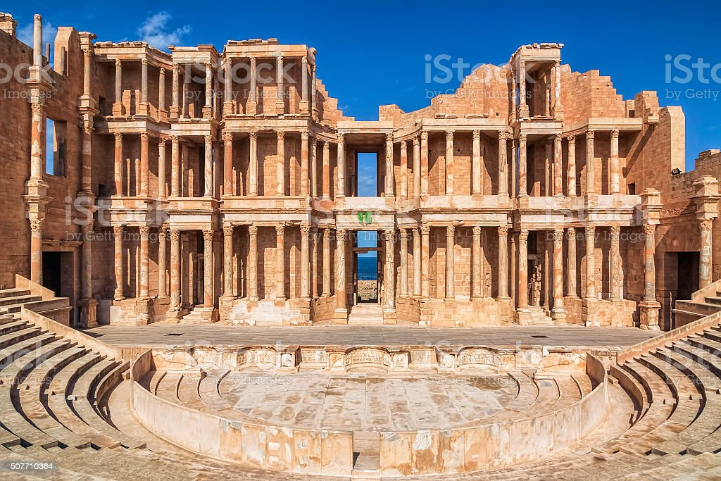 Roman Amphitheatre of Sabratha , Libya , Tripolitania stock photo