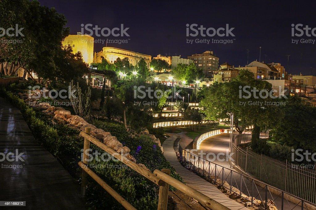 Roman Amphitheatre Tarragona at night. stock photo