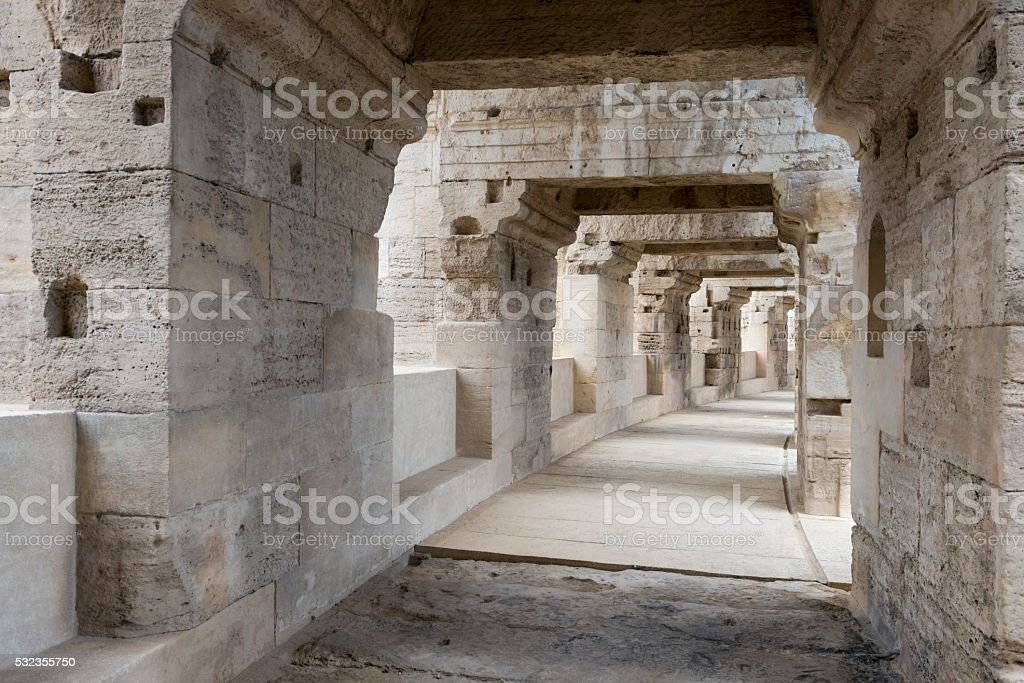 Roman Ampitheatre in Arles, France stock photo