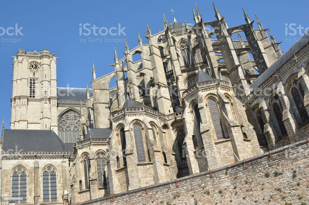 Roman and gothic cathedral of Saint Julien at Le mans Sarthe, Pays de la Loire, France stock photo