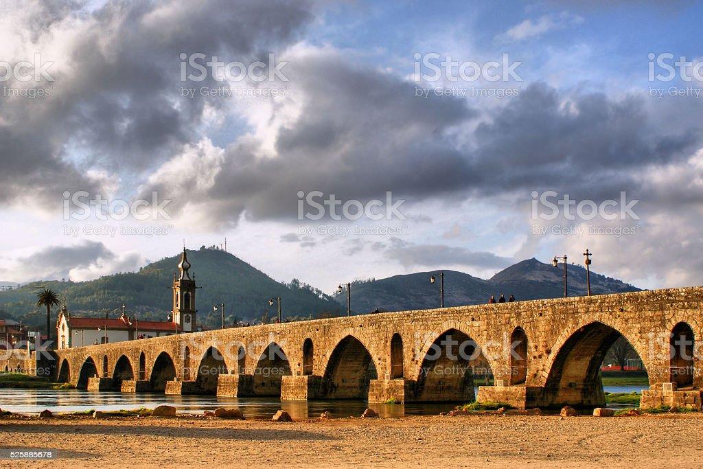Roman and medieval bridge of Ponte de Lima stock photo