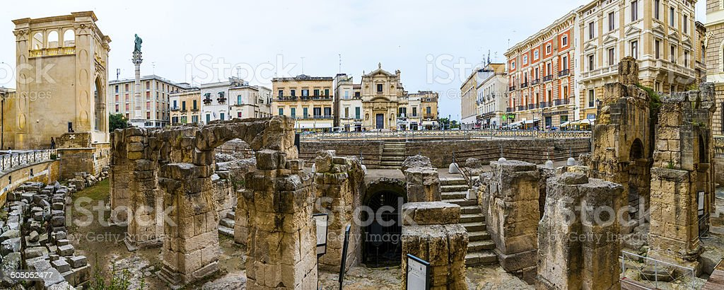 Roman Anphitheater and S.Oronzo Square, Lecce stock photo