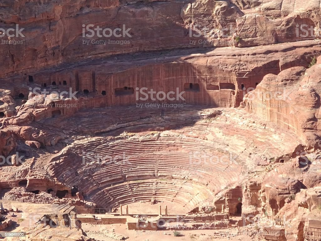 Roman Anphitheater in Petra/Jordan stock photo