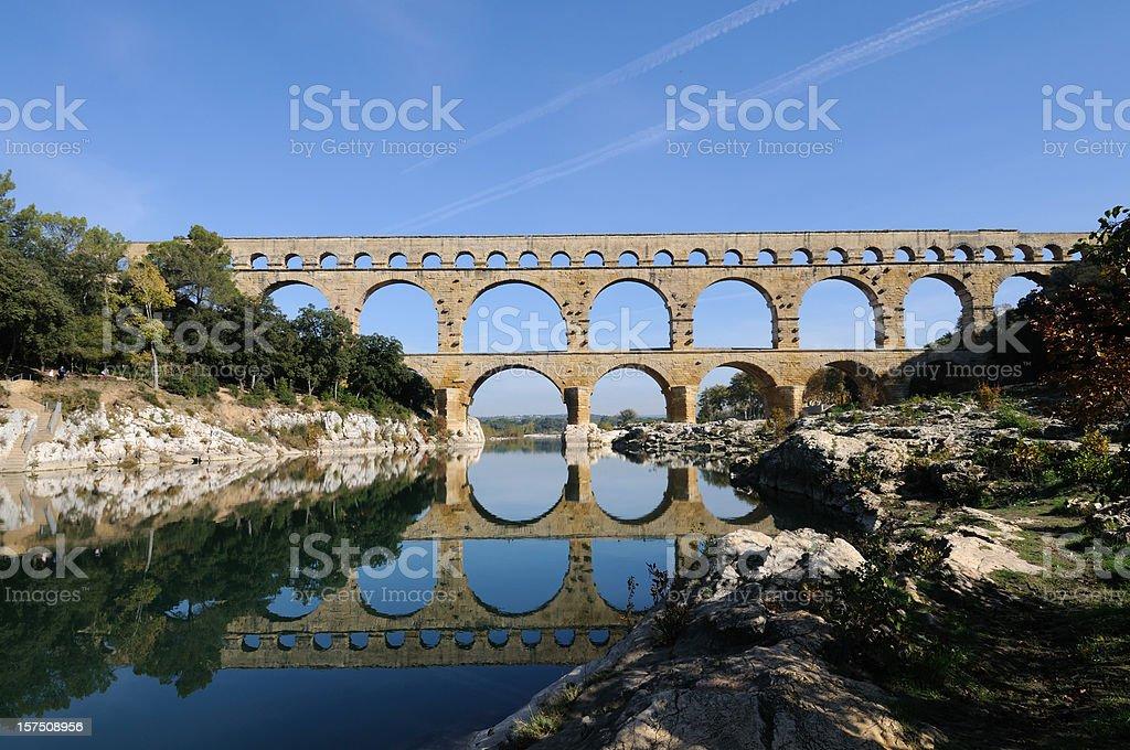 Roman aqueduct at Pont du Gard, France stock photo