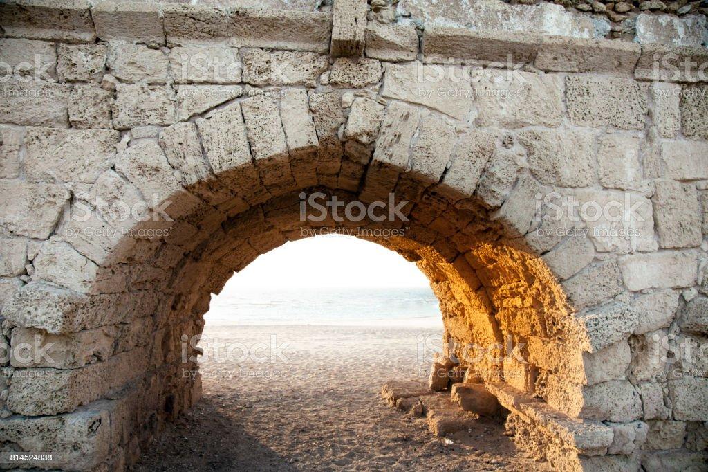 Roman aqueduct in Caesarea. Israel. stock photo