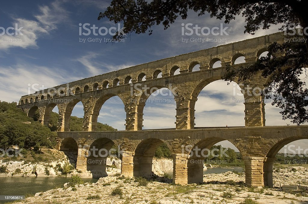Roman Aqueduct in France on a nice day royalty-free stock photo