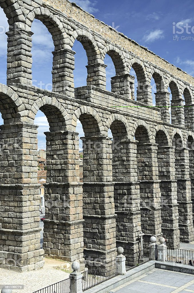 Roman aqueduct in Segovia, Spain royalty-free stock photo
