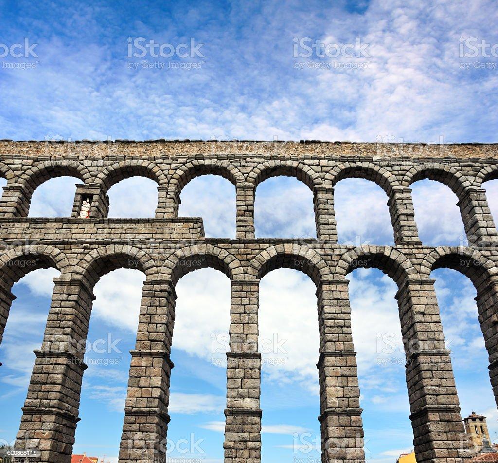 Roman aqueduct in Segovia, Spain stock photo