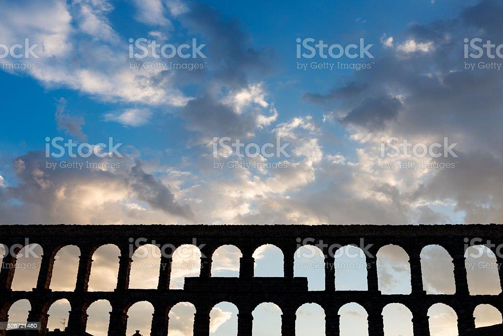 Roman Aqueduct of Segovia in Spain stock photo