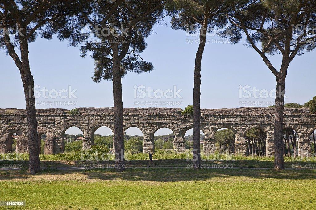 Roman aqueduct stock photo