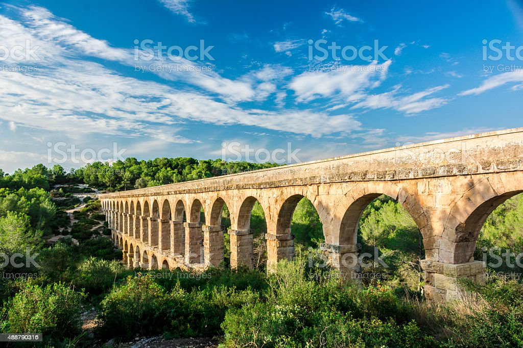 Roman Aqueduct Pont del Diable in Tarragona stock photo