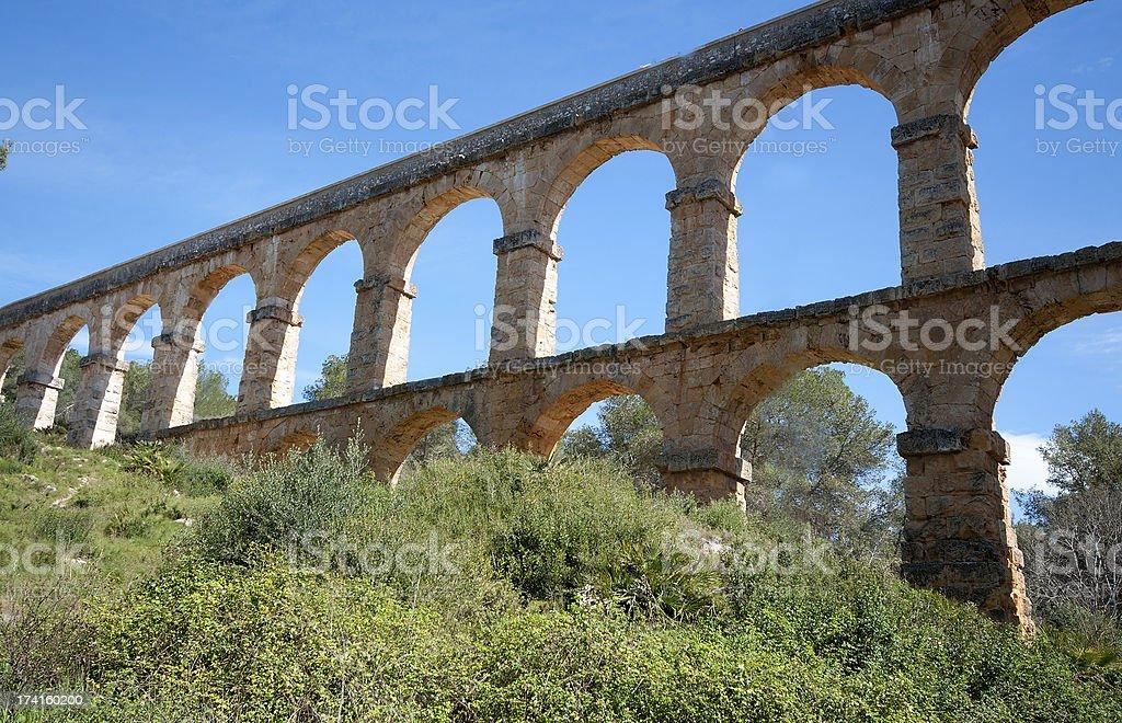 Roman Aqueduct Pont del Diable in Tarragona, Spain royalty-free stock photo