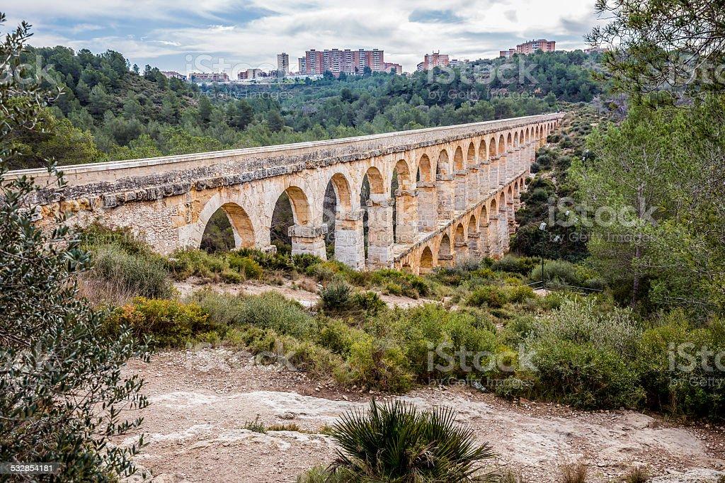 Roman Aqueduct Pont del Diable in Tarragona, Spain stock photo