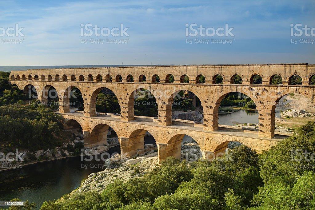 Roman aqueduct Pont du Gard, France stock photo