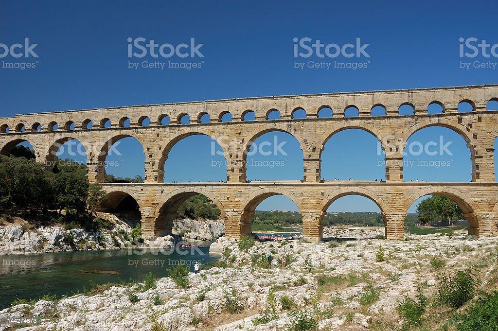 Roman aqueduct Pont du Gard in France royalty-free stock photo