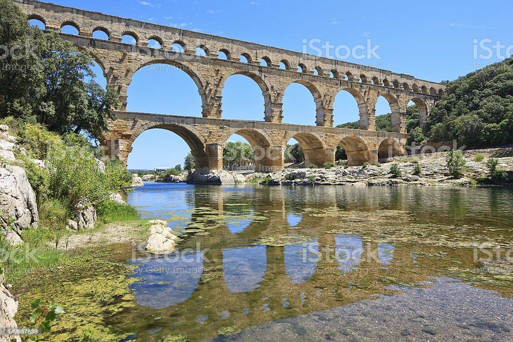 Roman aqueduct Pont du Gard, Languedoc, France. Unesco site. stock photo