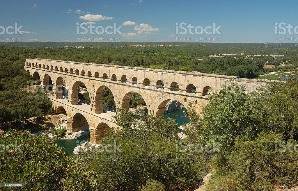 Roman aqueduct Pont du Gard stock photo